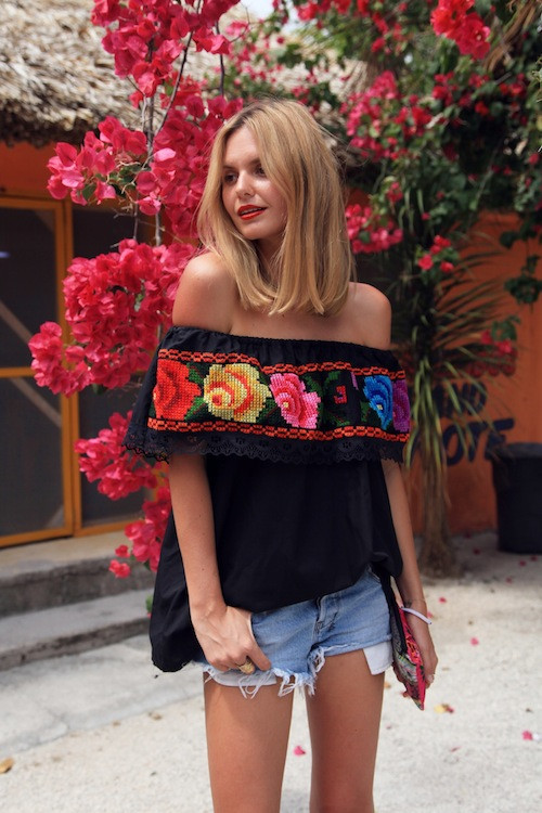 flowers black from the shoulder top