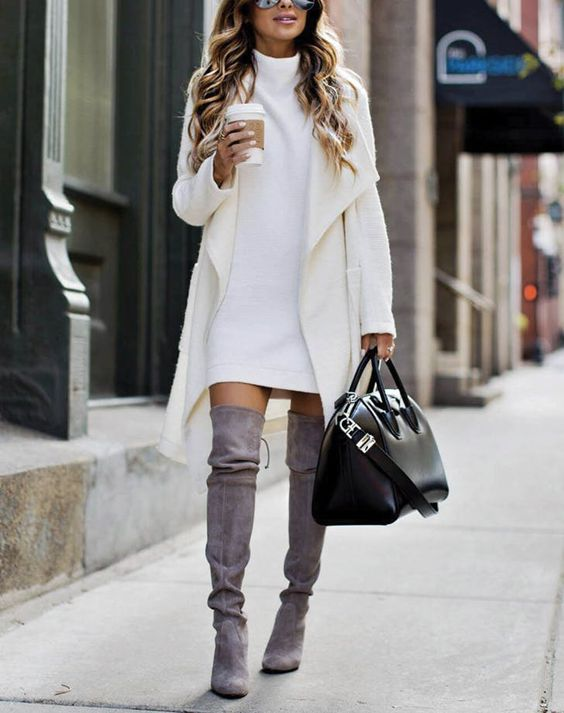 white dress gray boots