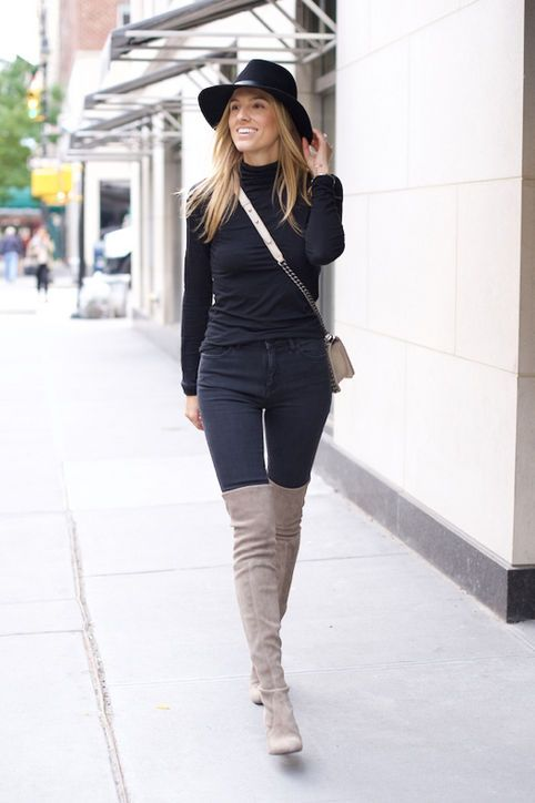 black jeans gray thigh high boots