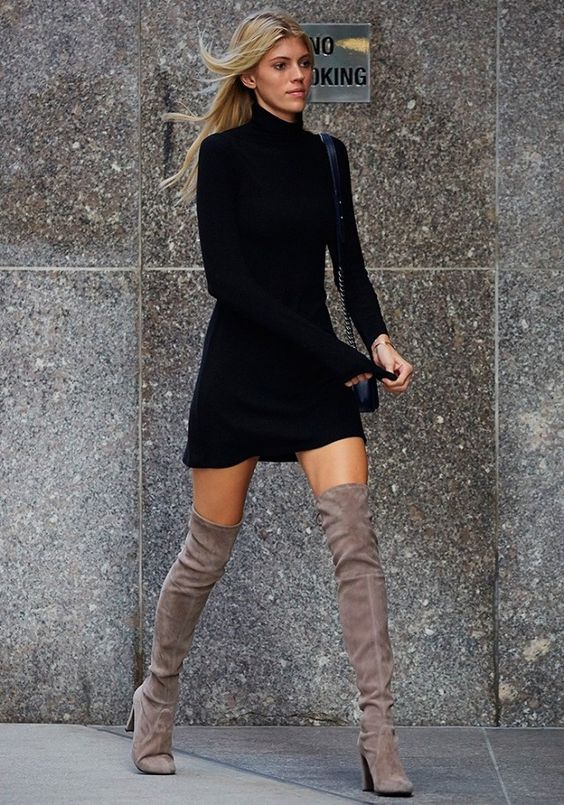 black dress gray thigh high boots