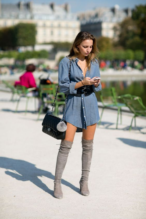 denim dress gray thigh high boots