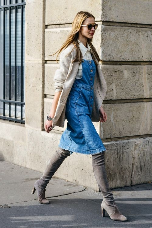denim overall dress gray boots