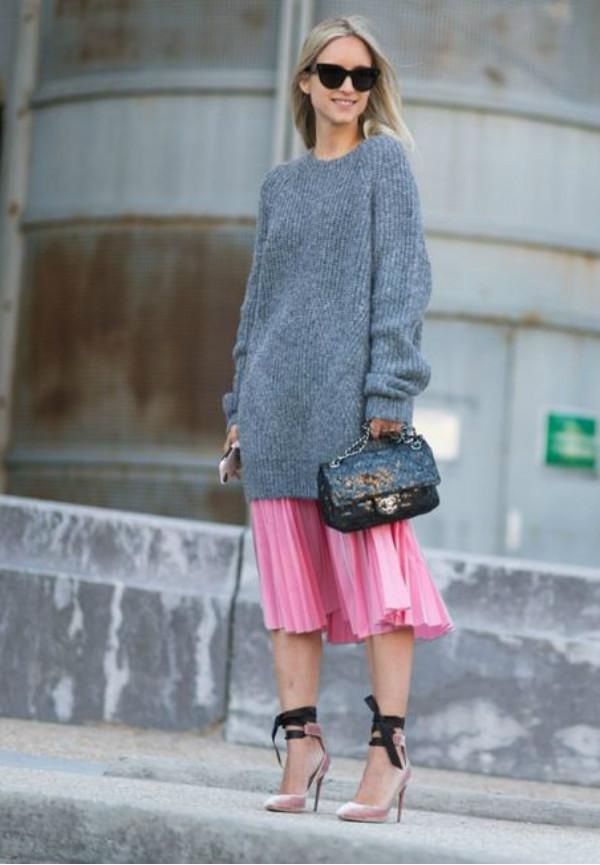 sweater with high waist skirt
