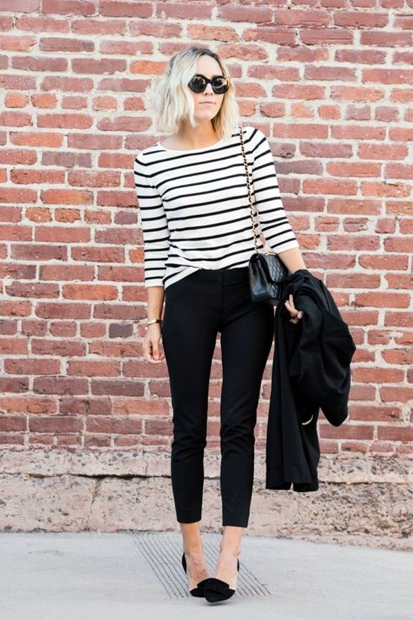 black striped sweatshirts capri jeans
