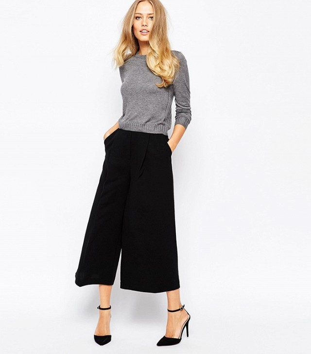black wide leg capri sweater
