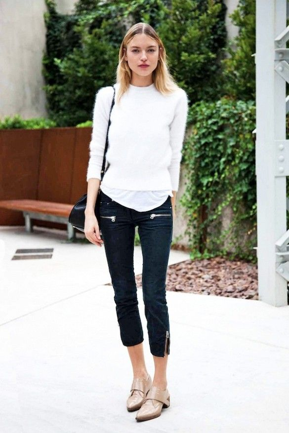 cropped sweater white tee black capri pants