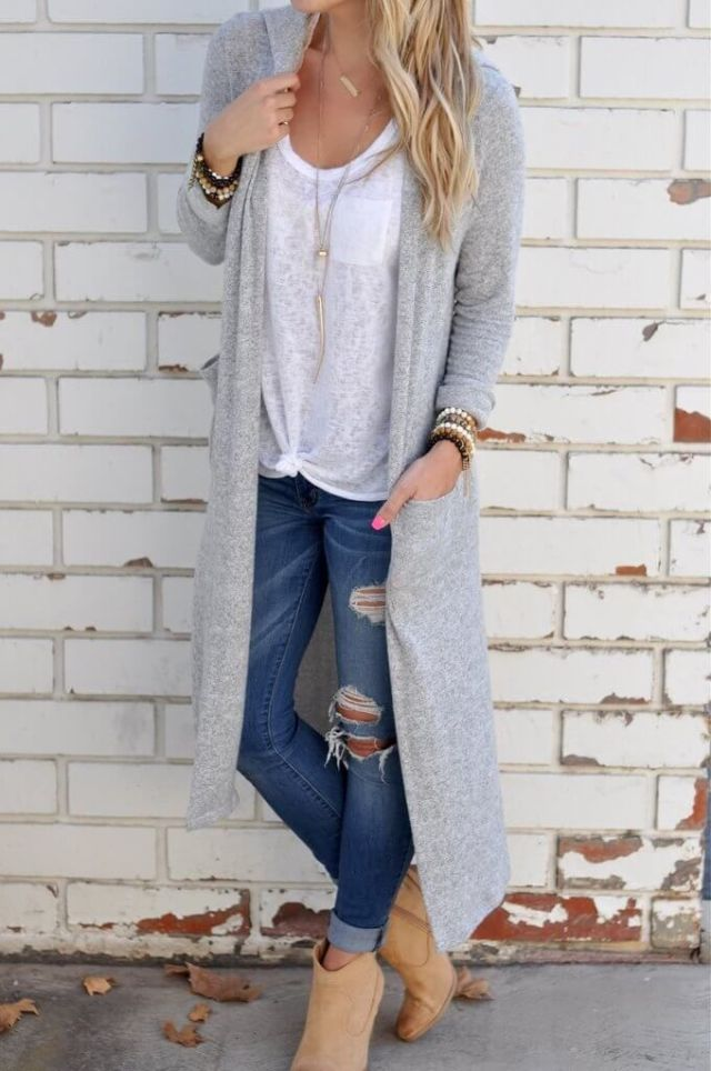 long cardigan-boots ripped cuffed skinny jeans