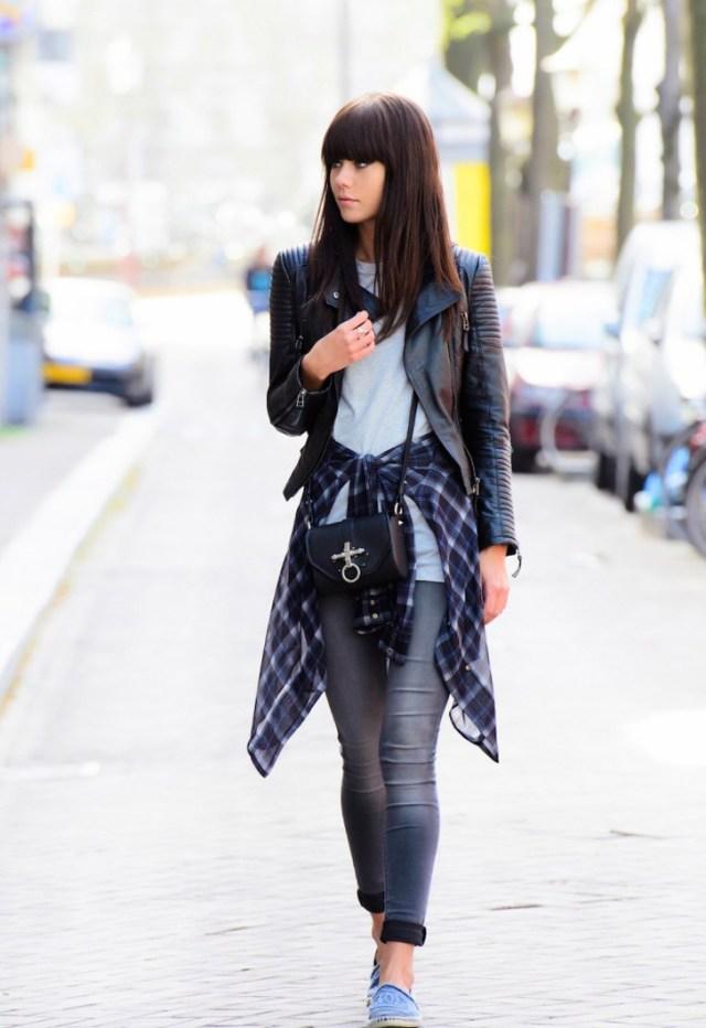 leather jacket boyfriend tied around the waist