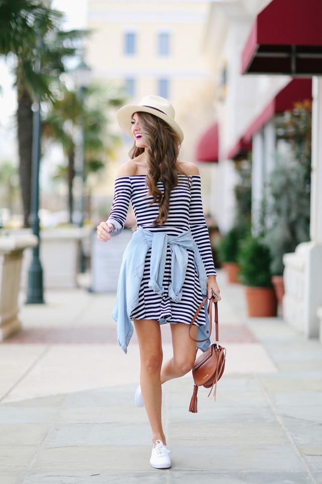 horizontal striped dress with chambray shirt