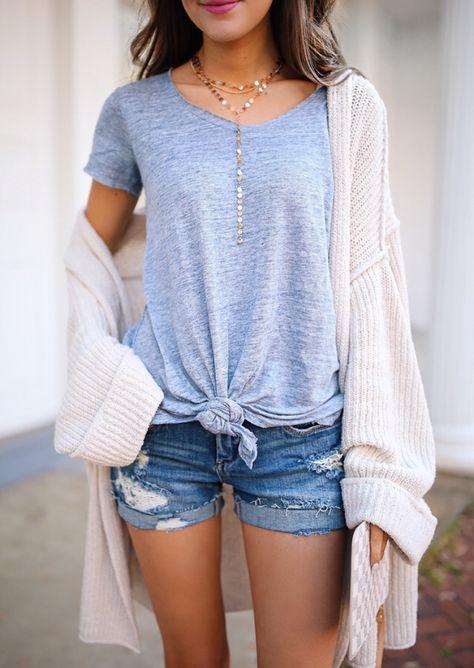 knotted t-shirt denim shorts