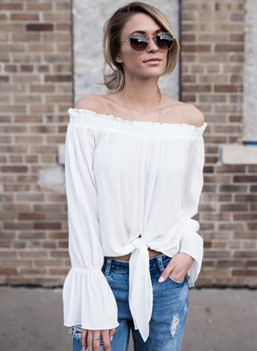 off shoulder strap front blouse outfit