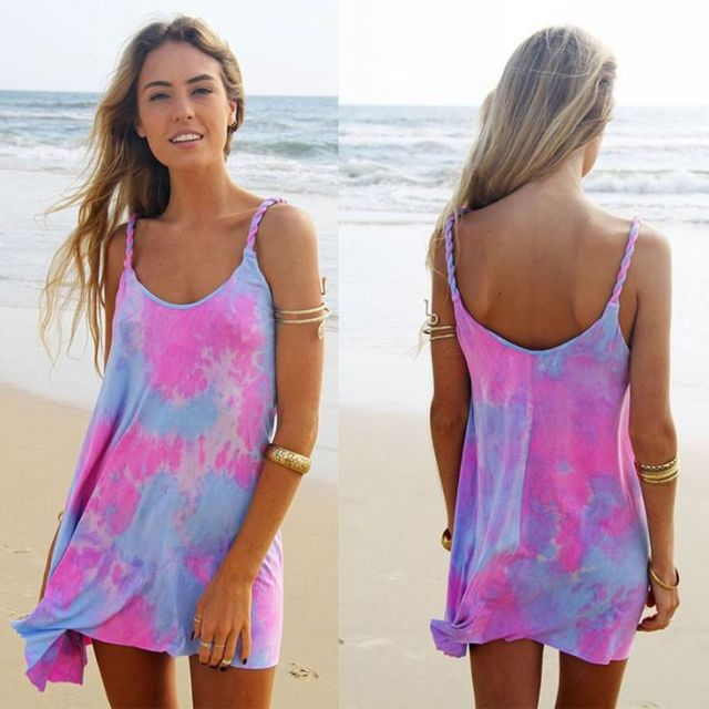 purple pink tie dye beach dress