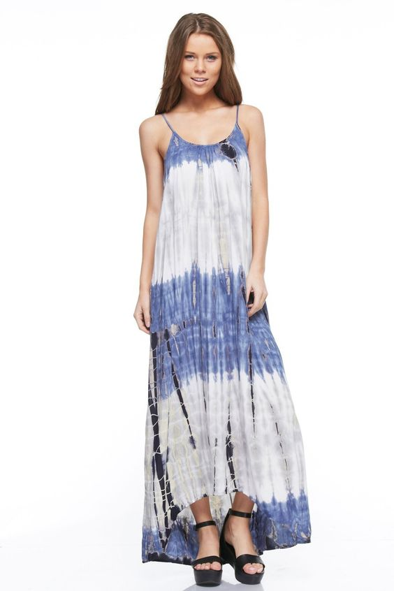 color block tie dye maxi dress