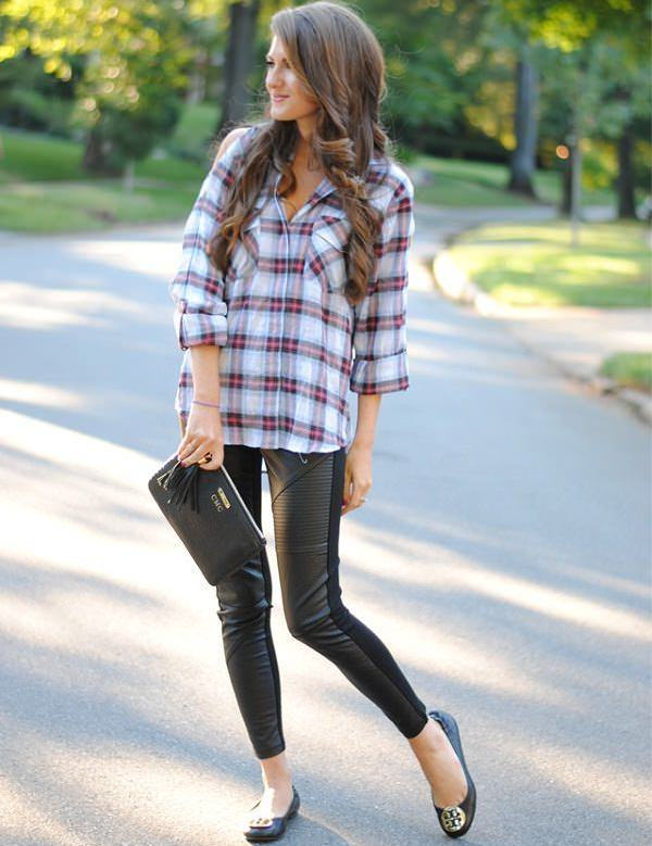 boyfriend shirt with leather leggings