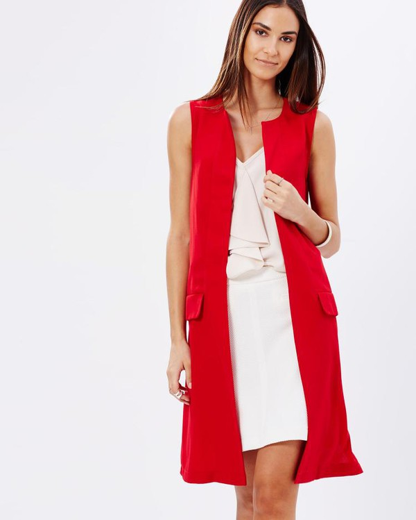 red long-sleeved cardigan dress