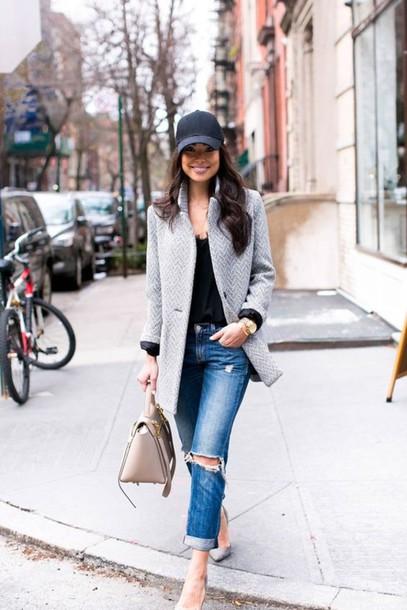 black baseball cap smart casual jacket