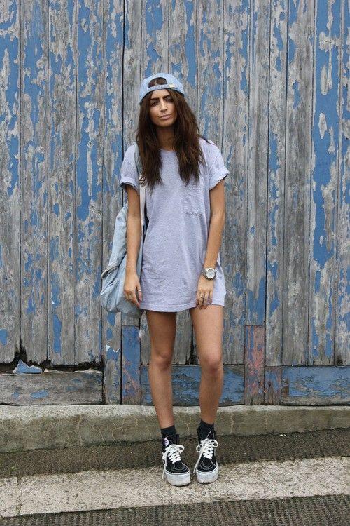 baseball cap t-shirt dress outfit