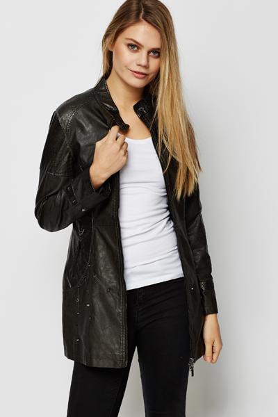 longline leather jacket women