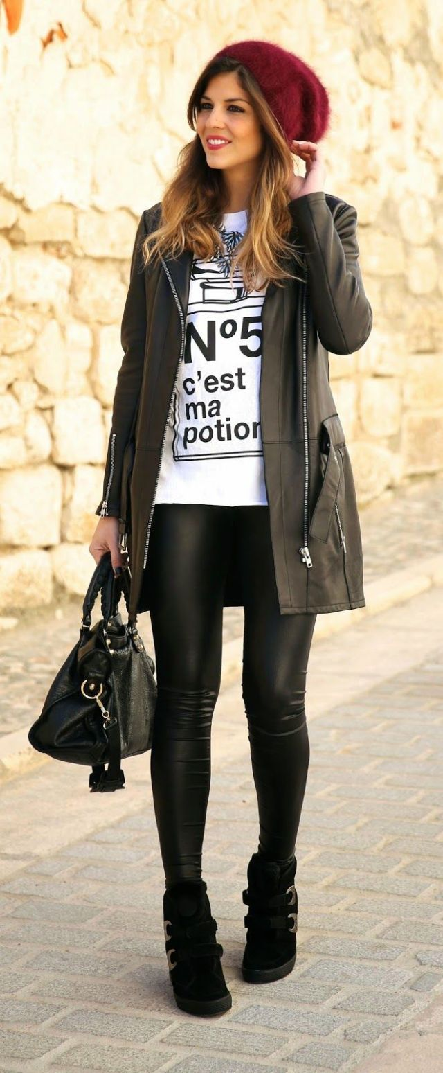 longline jacket t leather leggings