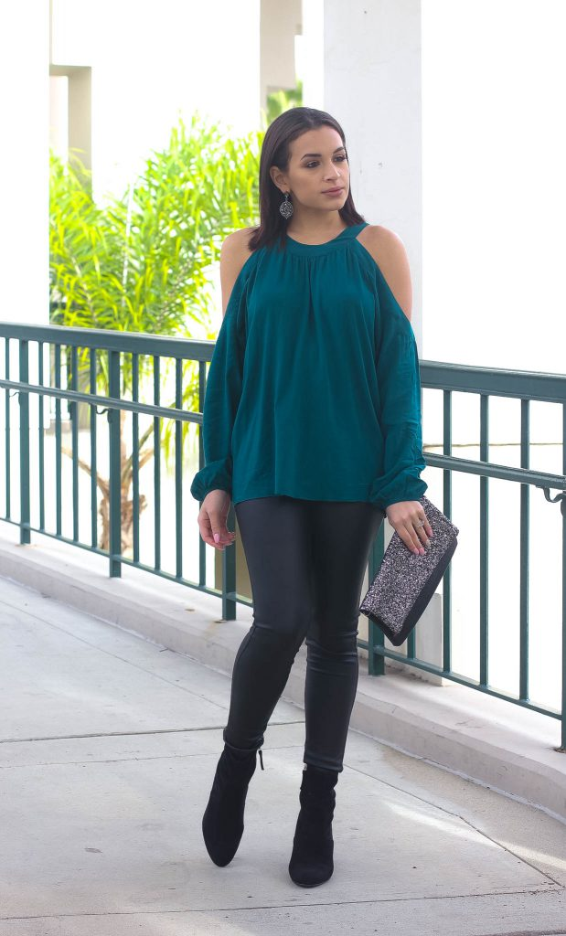 cold shoulder blouse leggings