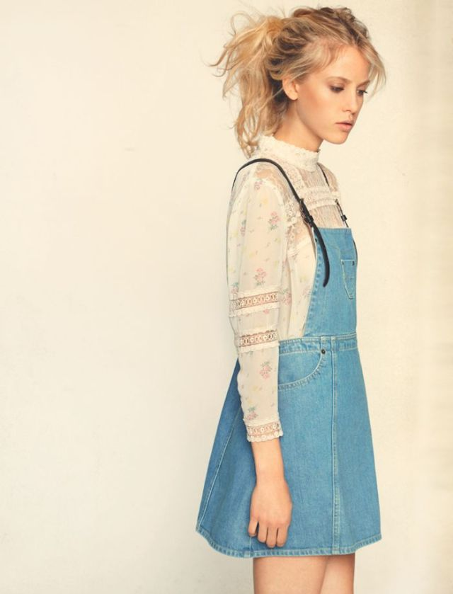 lace blouse denim overall dress outfit
