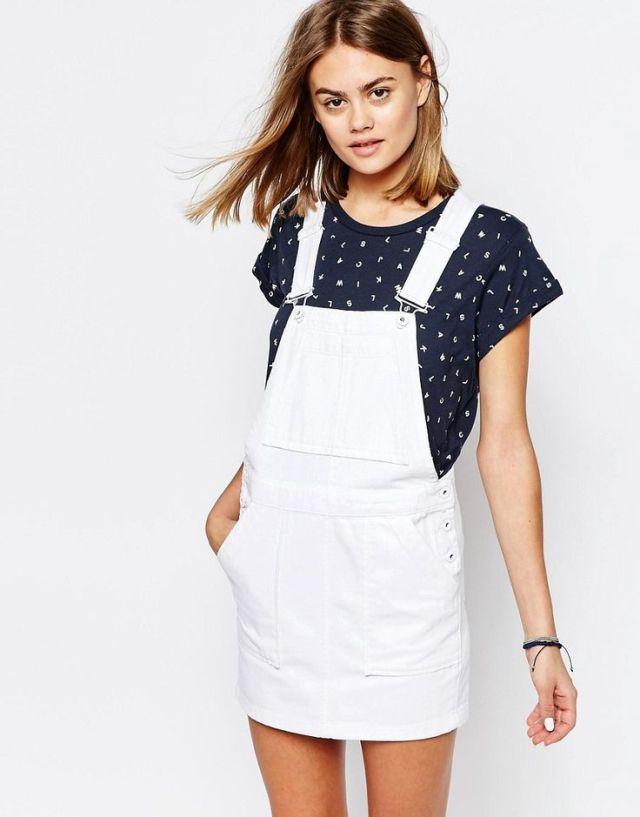 white denim overall skirt black t-shirt