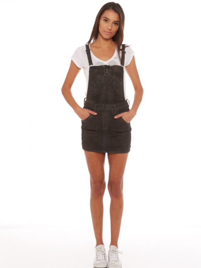 black denim overall skirt white t-shirt