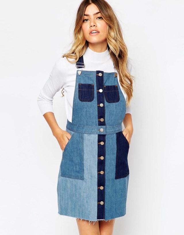 patchwork denim overall skirt design