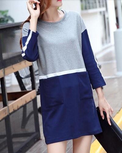 color block long sleeve t-shirt dress