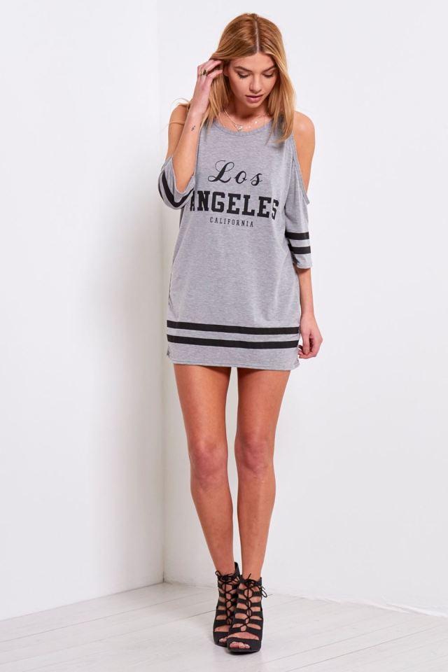 cold shoulder long sleeve t-shirt dress