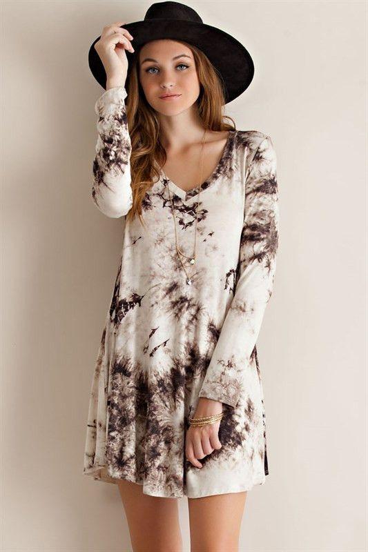 long sleeve tie dye t-shirt dress