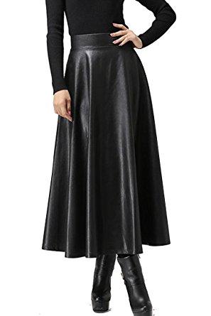 black leather with high waist maxi dress