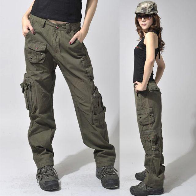 women walking cargo pants with hat