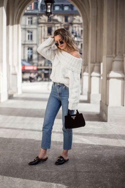 a shoulder fluffy sweater boyfriend jeans