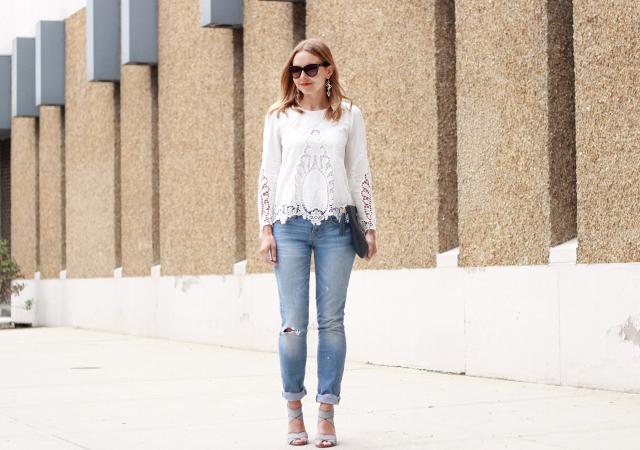Long sleeve white lace top boyfriend jeans
