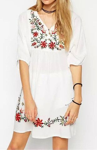 white boho embroidered floral dress