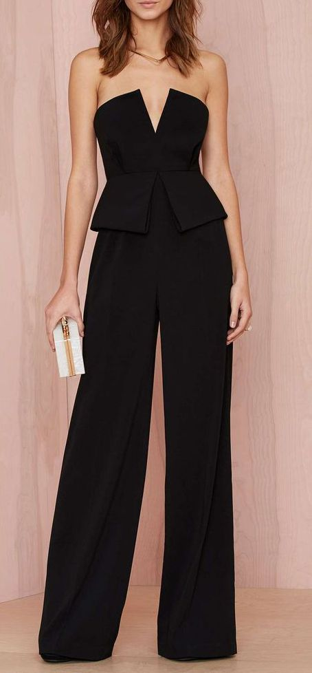 palazzo jumpsuit with low v-neck