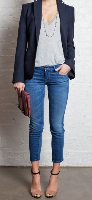 semi formal jacket t-shirt jeans