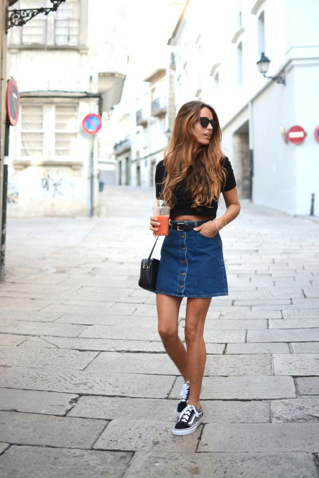 denim skirt with belt on the street