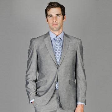 Slim Fit Gray Sharkskin wool and Silk Blend Suit for men