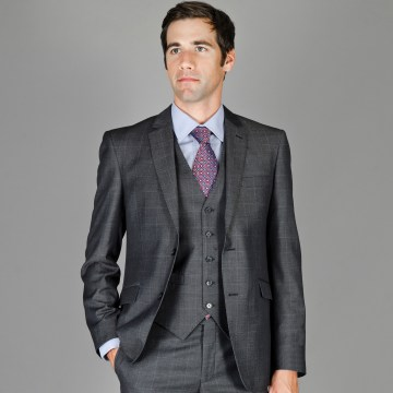 Slim Fit Wool and Silk Blend Vested Suit for Men
