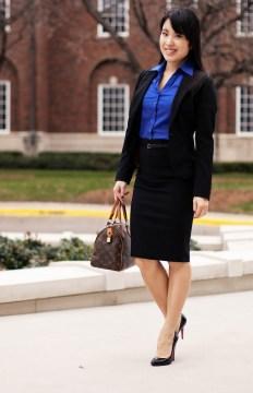 Black skirt + blue shirt + blazer