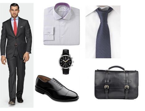 Interview suit with accessories for men