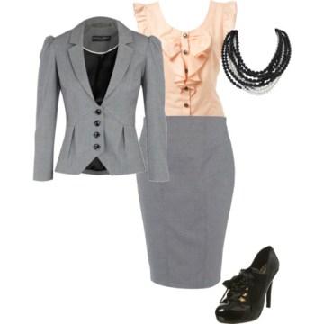 Skirt + blouse + blazer + accessories