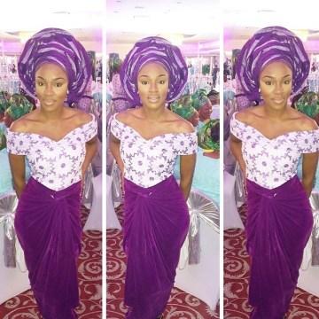 off shoulder purple anchor dress