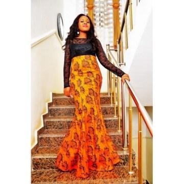 Lace high top and Ankara fish dress