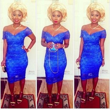 of shoulder-blue dress