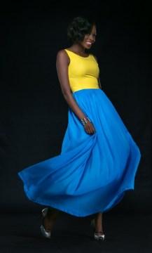 yellow top with blue puck skirt drop waist style dress bella naija