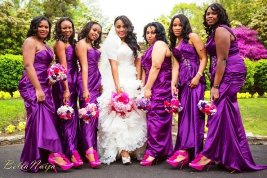 purple theme bella naija wedding