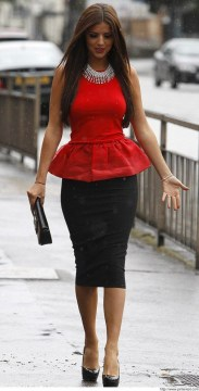 Peplum red top with pencil skirt